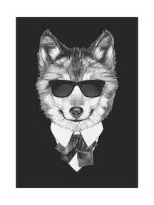 Wolf Wall Murals portrait of wolf in suit hand drawn illustration posters