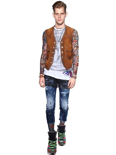tattoo shirts for men lyst dsquared 178 printed sheer sleeve t shirt