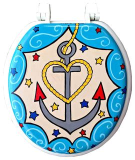 nautical toilet seat cover nautical anchor painted toilet seat eclectic