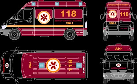 ambulance vehicle  dwg block  autocad designs cad