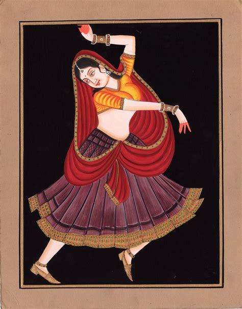 Painting Handmade - rajasthani nautch painting handmade watercolor
