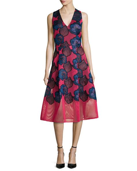 Sf 725 Flower Embroidery Flare sachin babi aki embroidered fit flare cocktail dress neiman