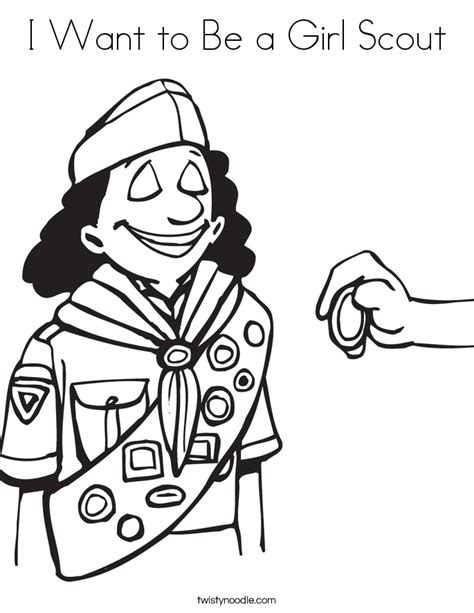 coloring page of a girl scout i want to be a girl scout coloring page twisty noodle