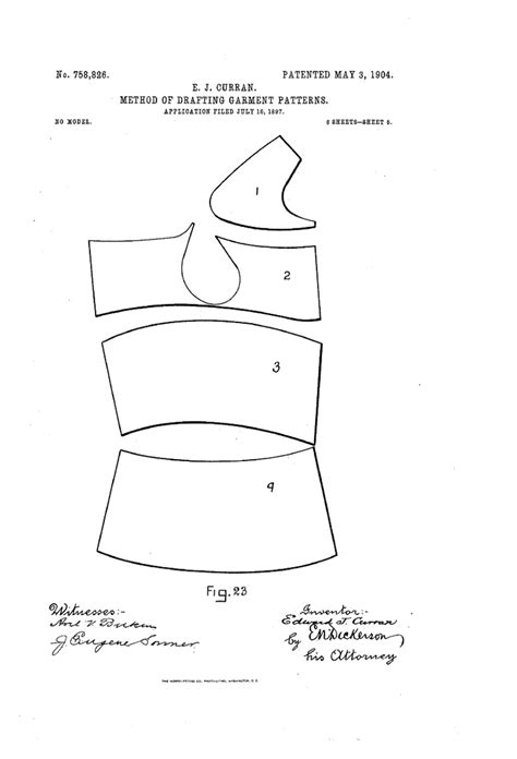 explain pattern drafting 1904 patent us758826 curran method of drafting garment