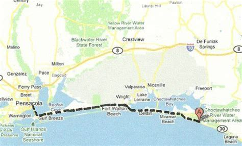 florida backroads travel map of route along gulf of mexico