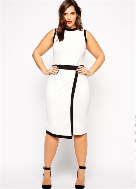 Bw Dress midi plus size dresses in slim fitted pencil skirt style womenitems