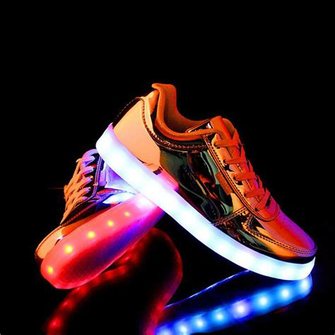 glowing shoes fashion gold silver led light up shoes glowing light up