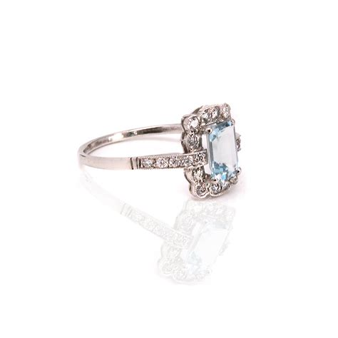 deco aquamarine rings platinum deco aquamarine and ring from the 1920 s