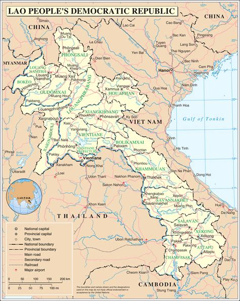 map of laos large detailed road and administrative map of laos laos large detailed road and administrative
