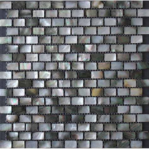 shell mosaic tiles black white black lip seashell mosaic of pearl subway tile backsplash