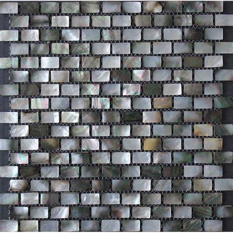 black lip seashell mosaic of pearl subway tile backsplash