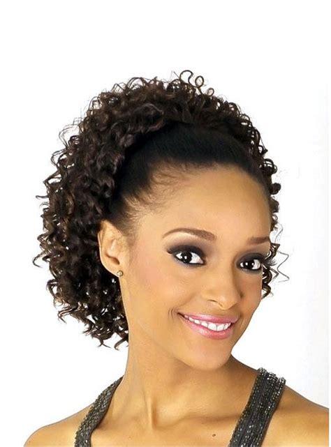 black woman drawstring ponytail hairstyles kinky curly synthetic medium length drawstring ponytail