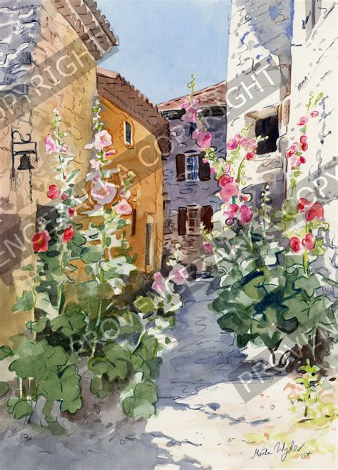colors of provence provence hollyhocks water color painting signed print