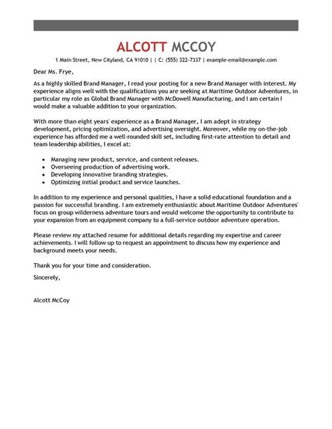 Brand Manager Cover Letter by Best Brand Manager Cover Letter Exles Livecareer