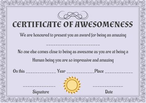 certificate of awesomeness template certificate of awesomeness 10 stunning templates