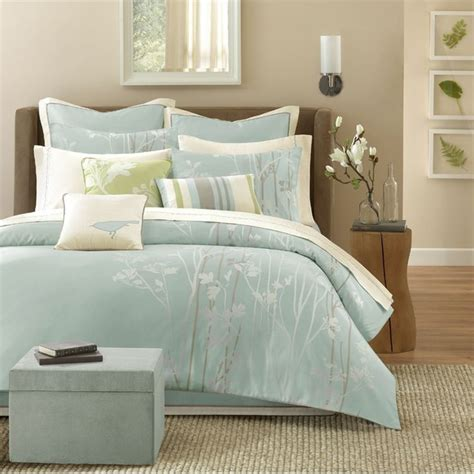 green and white bedding athena jacquard soft blue green and white floral comforter