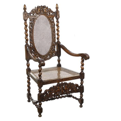 throne armchair jacobean revival carved oak throne armchair chair x ebay