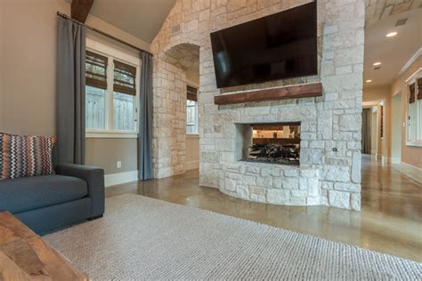Stone Feature Wall & Fireplace   Transitional   Family