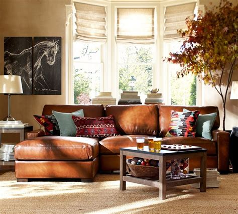 leather sofa living room ideas pottery barn