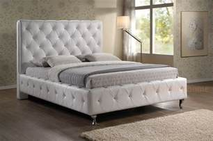 King Size Tufted Headboard Modern White Faux Leather King Designer Button Tufted Platform Bed Ebay
