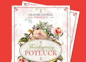 Thanksgiving Card Template Psd by Free Potluck Thanksgiving Flyer Template Design Psd