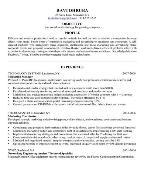 Social Media Resume by Resume Makeover Social Media Resume Blue Sky