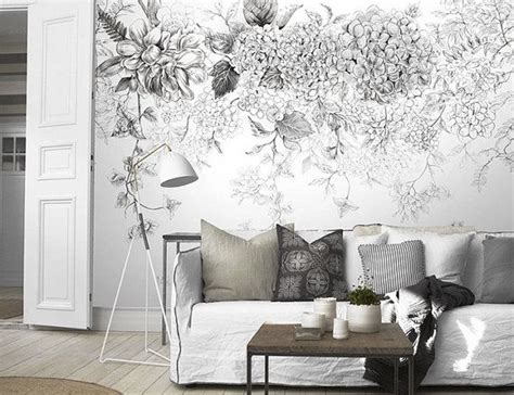 flower wallpaper home decor sketch flowers wallpaper black and white poetry floral