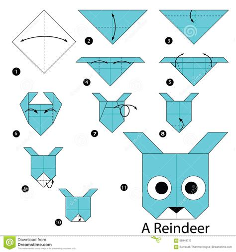 How To Make An Origami Reindeer - step by step how to make origami a reindeer