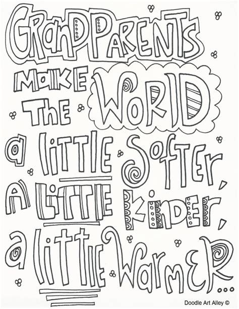 printable grandparent quotes grandparents day coloring pages doodle art alley