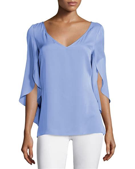 Buterfly Blouse milly butterfly sleeve v neck blouse in blue lyst