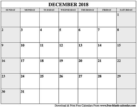 December 2018 Printable Calendar Blank December 2018 Calendar Printable
