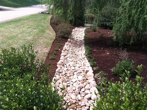 drainage ditch in backyard drainage ditch landscaping decorative drainage before