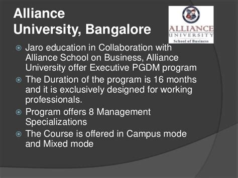 Mba Program For Working Professionals In Bangalore by Jaro Education Academic Partners