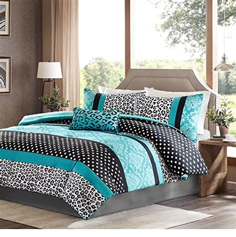 black white and turquoise bedding girls bedding set kids teen comforter turquoise black