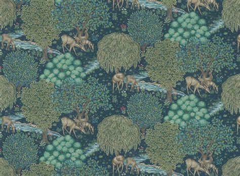 The Brook by Morris   Navy : Wallpaper Direct