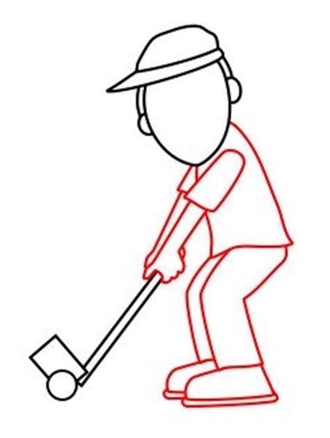 golf draw swing drawing a cartoon golfer