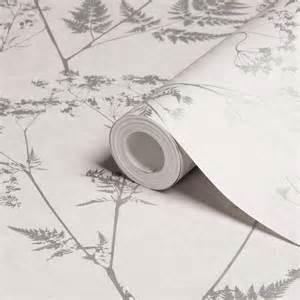 Grey Trellis Graham Amp Brown Gilded Fern Grey Leaf Metallic Wallpaper