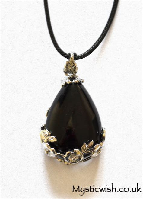 Obsidian Necklace black obsidian tear drop pendant with flower frame