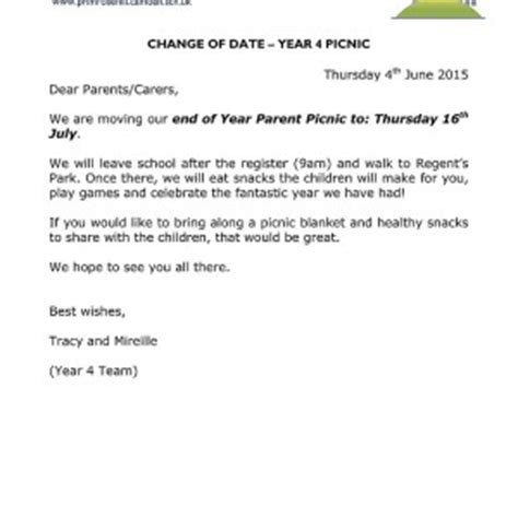 Permission Letter For Going To Picnic Letters Home Primrose Hill Primary School
