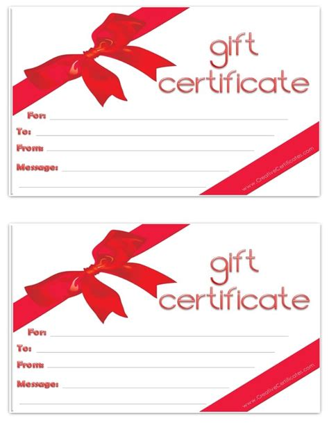blank gift certificate template blank gift certificate free printables