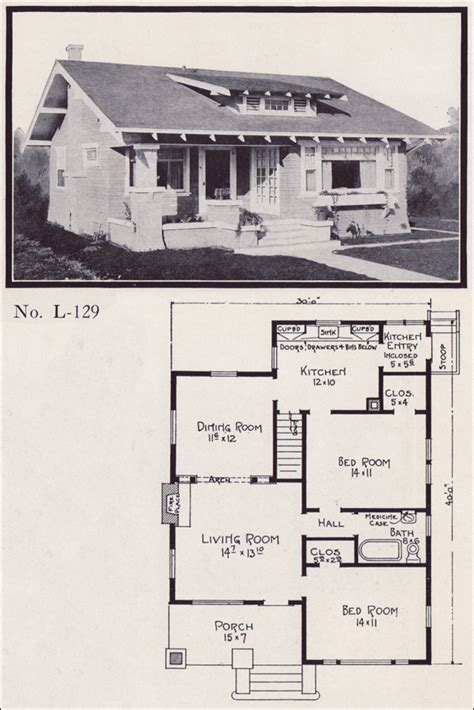 1920s bungalow floor plans 1920s bungalow home plan no l 129 e w stillwell co