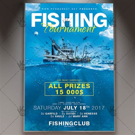fishing tournament flyer template fishing tournament premium flyer psd template psdmarket