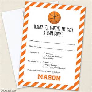 basketball thank you cards professionally printed or diy