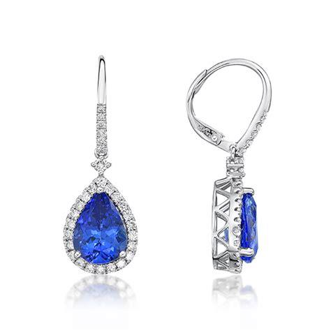 Shaped Drop Earring 510 ct tanzanite pear shaped drop earrings with diamonds