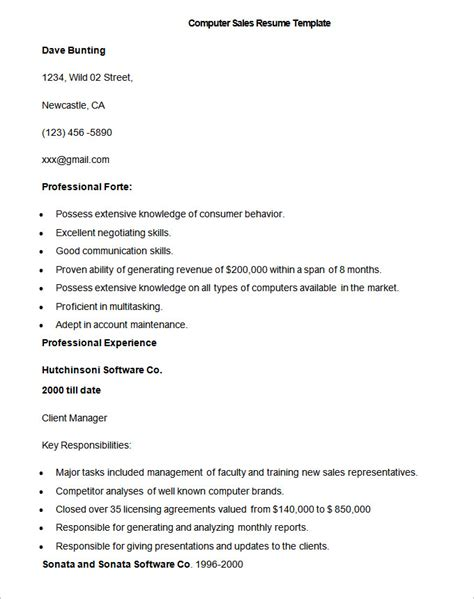 resume templates for computer sales resume template 41 free sles exles format