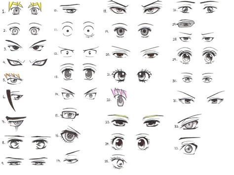 anime eyes male manga eyes male female drawing reference 3