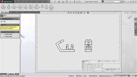 solidworks flat pattern drawing view solidworks drawing tools tutorial projected view youtube