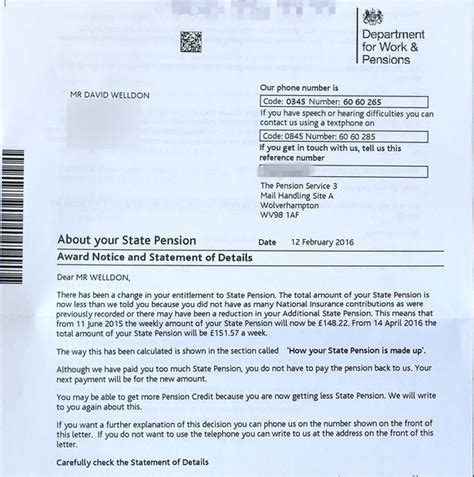 Award Letter Dwp Sent Eight Page Letter By Dwp To Explain His Pension Was Being Cut By 1p Mirror