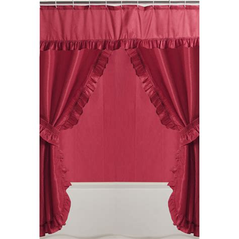 Mainstays Double Swag Shower Curtain Red Bath Walmart Com
