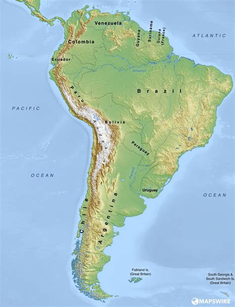america map physical map free physical maps of south america mapswire
